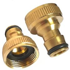 "Brass Hose Tap Connector 3/4"" threaded garden water Pipe Quick Adaptor Fitting"