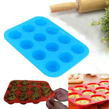 12 Cups Silicone Muffin Pudding Mould Bakeware Round Cake Loaf Baking Tray Tool