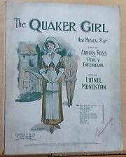 "Come To The Ball - 1910 sheet music - from ""The Quaker Girl"" musical, Valse Song"
