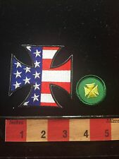 IRON CROSS Patch Lot ~ Patriotic USA Flag Theme & Yellow On Green (small) 68WG