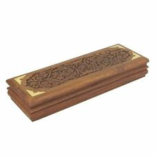 Hand Carved Sheesham Wood Box For Cufflinks Jewellery or Desk Tidy for Pens etc