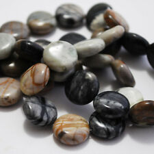 10 Semiprecious Gemstone Picasso Jasper Beads Disc 14mm