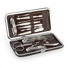 Men Nail Care 12 Pcs Cutter Cuticle Clipper Manicure Pedicure Kit Case Gift Set