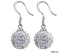 925 Sterling Silver Crystal 12mm Shamballa Ball Dangle Stud Earrings UK Seller