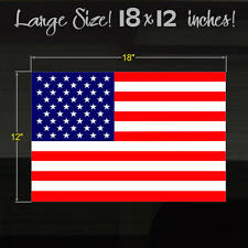 "American Flag LARGE Size 18""x12"" Outdoor Durable Oracal Vinyl Decal Sticker"