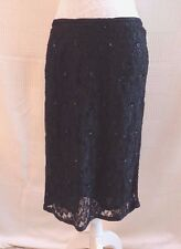 "Naughty black heavily beaded lace style lined skirt W 31.5"" Size 14 ?"