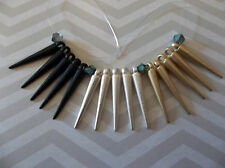 Black Silver & Gold Spikes - 15 Metal Pendant Dangles Charms - 22mm long