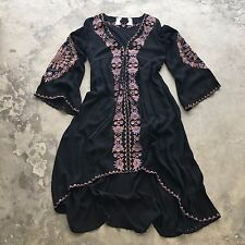 New ANTHROPOLOGIE Festival Black Embroidered Boho Midi Maxi Hippie Dress  Medium