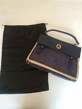 YSL Yves Saint Laurent Blue Muse Two 2 Bag Tote Handbag