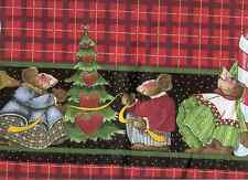 "DAISY KINGDOM CELEBRATE YOUR SOCKS OFF DOUBLE BORDER CHRISTMAS MICE FABRIC-60""W"
