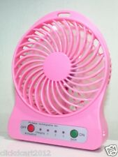 Portable Mini Rechargeable LED Light Fan With Battery Charger & USB Cable-Pink