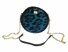 $1200 DOLCE & GABBANA MISS GLAM Blue Leopard Leather Black Messenger Bag Purse