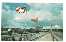 Entering CANADA via RAINBOW BRIDGE Both FLAGS American Niagara Falls Postcard