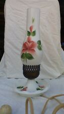Vintage Electric Milk Glass Hurricane Globe Lamp with Hand Painted Flowers