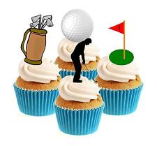 Novelty Golf / Golfer Collection 12 Edible Stand Up wafer paper cake toppers