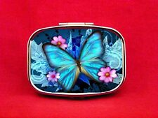 BUTTERFLY INSECT FLOWER BUG WINGS BLUE METAL PILL MINT CASE