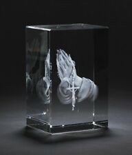 3D Religious Praying Hands Laser Engraved Crystal Glass Picture