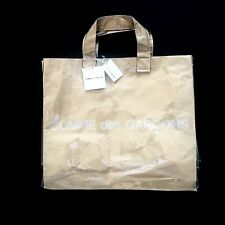 NWT Comme Des Garcons Japan Clear Vinyl Brown Paper Logo Big Tote Bag AUTHENTIC
