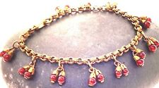 Art Deco Red Berry Bead Bracelet  Round Red Dangle Capped Beads Gold Tone 1920's
