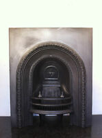 Original Restored Antique Cast Iron Victorian Fireplace Arched Insert (EM065)