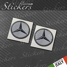 2 Adesivi Stickers MERCEDES silver 20 mm 3D resinati auto