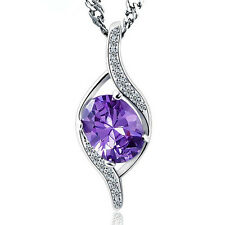 Female Purple Crystal 925 Sterling Silver Pendant Necklace Fashion Jewelry