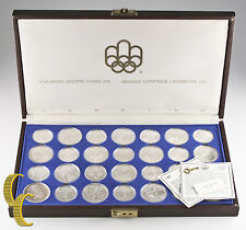 1973 - 1976 Canadian Olympic Silver Set Montreal 1976 28 Silver Pieces BU w/Case