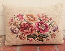 "VTG SHABBYCHIC STYLE FLORAL SOFA CHAIR DECORATIVE NEEDLEPOINT PILLOW 14""X 10"""