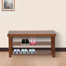 Wood Shoe Bench Seat 2 Shelf Rack Organizer Storage Entryway Furniture Red Brown