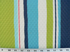 Drapery Upholstery Fabric In/Outdoor Stripe 100K Dbl Rubs - Turquoise Matelassé
