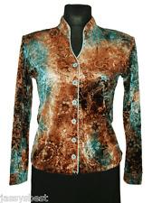 JB 36 / 38 LUXUS Samt Shirt Bluse GLAM effekt Braun / Türkis NEU