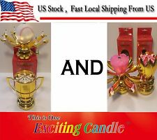 1 Baseball Trophy & 1 Golden Lotus Flower Musical Happy Birthday EXCITING CANDLE