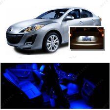 For Mazda 3 2014-2016 Blue LED Interior Kit + Xenon White License Light LED