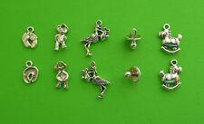 10x Baby Mix Feet Stork Dummy Teddy Rocking Horse Tibetan Silver Charm Pendant