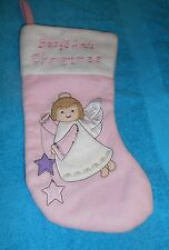 "Baby's First Christmas Pink Angel Stocking - 13.5"" Long - NEW"