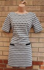 WHITE BLACK RARE TEA  WIGGLE STRIPE STRIPED SMOCK TUBE FORMAL DRESS 10 S