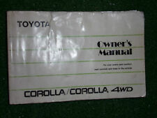 TOYOTA COROLLA Inc' 4WD OWNERS DRIVERS INSTRUCTION MANUAL HANDBOOK 1989