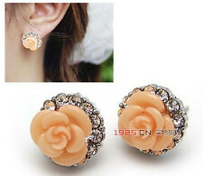 Fashion Pair Silver Plated Coral Rose Flower Clear Crystal Stud Earrings