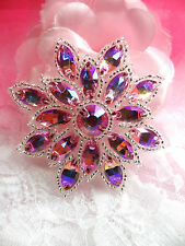 N19 Pink AB Silver Glass Rhinestone Applique Snowflake Floral Beaded Patch
