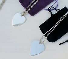 Personalised Engraved Silver Plated Plectrum Necklace
