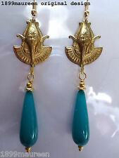 Egyptian Revival Art Deco earrings turquoise Art Nouveau 1920s vintage style