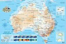"MAP OF AUSTRALIA POSTER ""FLAGS"" LARGE ""LICENSED"" BRAND NEW"