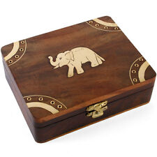Handmade Indian Wooden Lucky Elephant Trinket Jewel Box ~,with Brass  ~uk seller