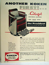 Vintage 1950'S KOKEN PRESIDENT TWO TONE CLUB Barber Chair Color Sign/Ad