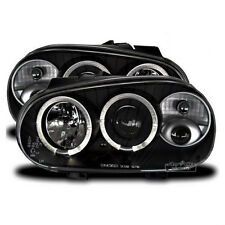 Black clear finish LED Angel Eyes headlight set for VW Golf 4 IV from 1997-2003