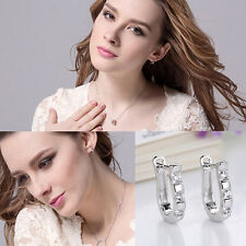 1 Pair Chic Silver Plated Lady White Gemstones Women's Hoop Earrings Nice Gift