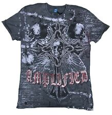 Amplified SAINT&SINNER Gothic Cross Calavera King Pedrería RockStar Camiseta T.M