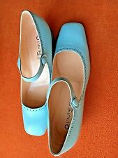 NEW LADIES L'AUTRE CHOSE Mary Janes baby blue LEATHER made in Italy 39  8 1/2
