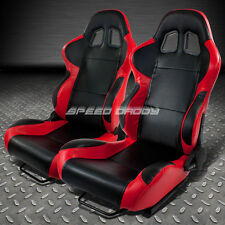 X2 FULL RECLINABLE PVC LEATHER RED/BLACK/CARBON FIBER LOOK RACING SEATS+SLIDER