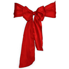 "100 Red Satin Chair Cover Sash Bows 6""x108"" Made in U.S.A Wedding Party"